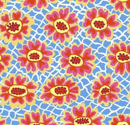 Free Spirit Fabrics - Brandon Mably - Kaffe Fassett August 2021 - Flower Net - rot-gelbe Blüten auf blauem Hintergrund - Patchworkstoff