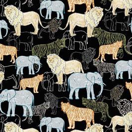 Michael Miller - Jungle Vibes - Wildlife Park - Elefanten, Löwen und Tiger auf schwarzem Hintergrund - Patchworkstoff