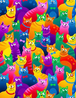 Stoff Timeless Treasures Katzen in Regenbogenfarben - Patchworkstoff - Packed Bright Rainbow