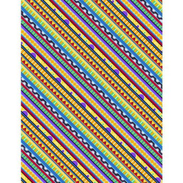 Wilmington Prints - Catmosphere - Bunte Streifen - Patchworkstoff