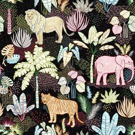 Michael Miller - Jungle Vibes - Flora und Fauna - Elefanten, Löwen, Tiger, Palmen und Urwald auf schwarzem Hintergrund - Patchworkstoff