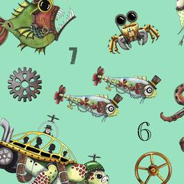 Quality Treasures - Aquatic Steampunkery - Steampunk Toss - Meeresbewohner im Steampunkoutfit - Patchworktstoff