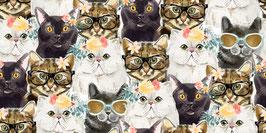 3Wishes Fabrics - Everyday is Caturday - Katzen mit Sonnenbrillen oder Blümchen - Patchworkstoff