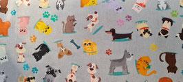 Patchworkstoff - Katzen und Hunde auf Grau - STOF FR