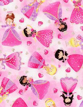 Stoff Timeless Treasures - Prinzessinen Pink mit Glitzer