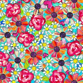 3Wishes Fabrics - Joy Blooms - Tossed Posies - Gänseblümchen und wilde Rosen auf grünem Hintergrund - Patchworkstoff