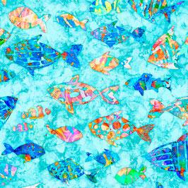 Quilting Treasures - Ocean Paradise - Fische - Patchworkstoff