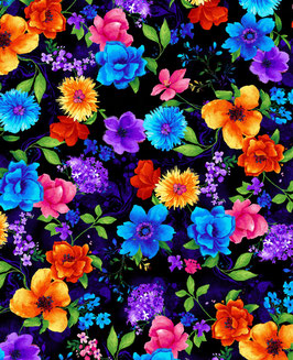Stoff Timeless Treasures - Blüten - Night Bloom Small Bunt