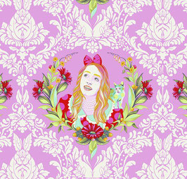 Tula Pink - Curiouser and Curiouser - Alice im Wunderland - Alice auf Pink - Patchworkstoff