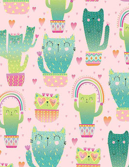 Patchworkstoff - Katzen als Kaktus- Timeless Treasures - Quirky Cat Cacti
