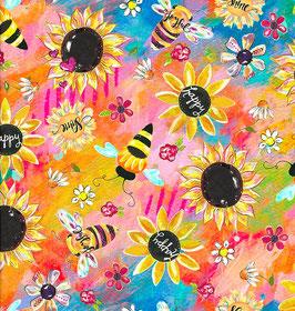 3Wishes Fabrics - Joy Blooms - Sunflowers - Sonnenblumen, Gänseblümchen und Bienen - Patchworkstoff