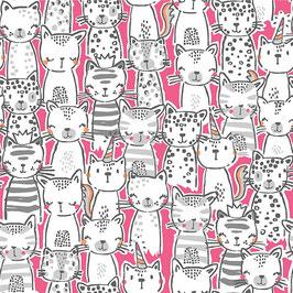 Michael Miller - A Pawsome Bunch - Meowgical - Süße Katzen auf Pink- Patchworkstoff
