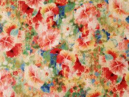 Wilmington Prints Blumen in Grün-Rot-Gelb - Stoff - Bohemian Dreams Flowers