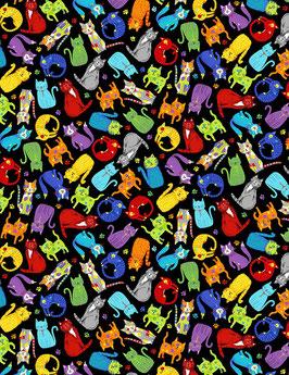 Timeless Treasures - Gail Cadden - Small World - Mini Colorful Kitten- bunte Katzen auf Schwarz - Patchworkstoff