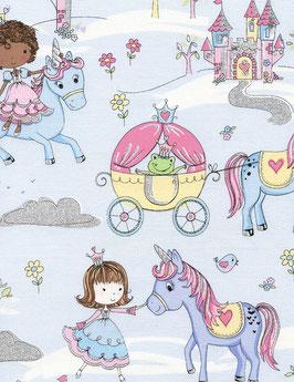 Stoff Timeless Treasures - Prinzessin mit Kutsche, Frosch, Einhorn und Silberglitzer