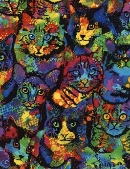 Timeless Treasures Katzen in Regenbogenfarben - Patchworkstoff - Paint Splatter Cats