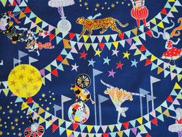 Kokka Circus of Wonders Dunkelblau - Zirkus Stoff mit Glitzer