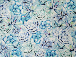Wilmington Prints Sukkulenten in Blautönen - Stoff - Humming Along - Blue Succulents