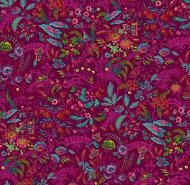 Free Spirit Fabrics - Odile Bailloeul - Magic Country - Florapolis - Blätter und Federn auf pinkem Hintergrund - Patchworkstoff