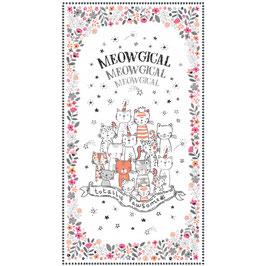 Michael Miller - Meowgical - Panel - Süße Katzen mit Krönchen und Geburtstagshütchen als Panel auf Weiß - Patchworkstoff