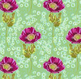 Free Spirit Fabrics - Anna Maria - Bright Eyes - Bossy Meadow - rote Mohnblüten auf grünem Hintergrund - Patchworkstoff