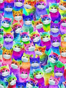 Stoff Timeless Treasures Katzen in Regenbogenfarben mit Masken - Bright Cartoon Mask Up - Patchworkstoff