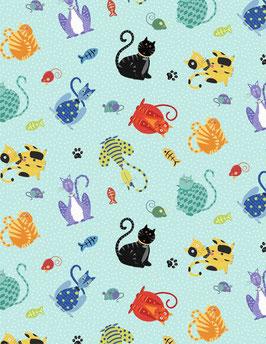 Wilmington Prints - Feeline Good - Katzen, Mäuse und Fische auf hellem Türkis - Patchworkstoff