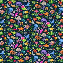 Patchworkstoff - dear Stella - bunte Fische, Rochen, Korallen. Kraken und Muscheln auf schwarz