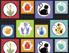 Wilmington Prints - Stephanie Marrott - Feeline Good - Craft Panel - Süße Katzen in großen Kacheln auf Schwarz - Patchworkstoff