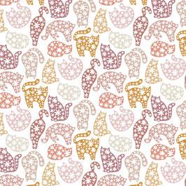 Camelot Fabrics - CDS & Laura Marschall - Smitten Kitten - Floral Kitten Poses - Kartzen mit Blüten - Patchworkstoff
