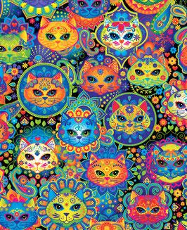 NACHBESTELLT, BALD WIEDER VERFÜGBAR-- Timeless Treasures Katzen in Regenbogenfarben  Sugar Skulls Patchworkstoff