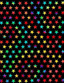 Timeless Treasures - Groovy - Tie Dye Groovy Stars - bunte Sterne auf Schwarz - Patchworkstoff