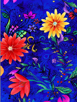 Timeless Treasures - Alle eyes on you - Whirlwind - Blüten auf blauem Hintergrund - Patchworkstoff