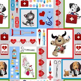 Henry Glass - Big Hugs by Jonny Javelin - Hunde, Katzen und Hasen als Krankenschwestern oder Ärzte - Patchworkstoff