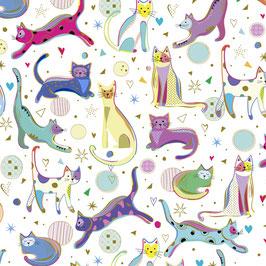 Quilting Treasures - Kitty Cats - Bunte Katzen auf Weiß - Patchworkstoff