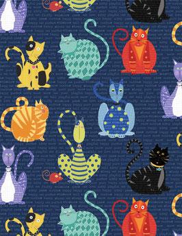 Wilmington Prints - Feeline Good - Katzen und Mäuse auf dunkelblauen Hintergrund - Patchworkstoff