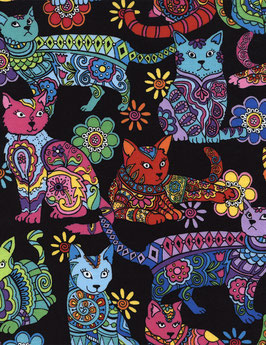 Stoff Timeless Treasures Katzen in Regenbogenfarben  Cat Coloring Patchworkstoff
