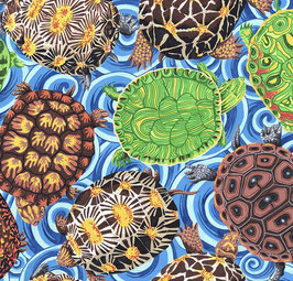 Free Spirit Fabrics - Snow Leopard Designs - PhilipJacobs - Secret Stream - Shelley Multi - Bunte Schildkröten auf blauem Hintergrund - Patchworkstoff