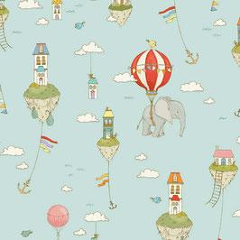 Michael Miller - Island in the Sky - City Hoppers - Elefanten & Ballons - Patchworkstoff