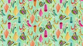 Stoff Dear Stella - Midsummer Dream - Summer Bugs - Kleine Insekten auf Mintgrün