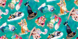 Patchworkstoff - 3Wishes Fabric - Katzenstoff- A Good KittyPatchworkstoff - 3Wishes Fabric - Katzenstoff- A Good Kitty Smaragdgrün