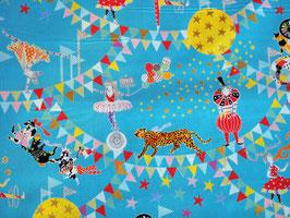 Kokka Circus of Wonders Himmeblau - Zirkus Stoff mit Metallic