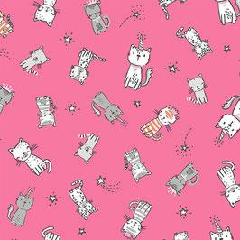 Michael Miller - Purring Friends - Cats Allover - Süße Katzen mit Krönchen auf Pink - Patchworkstoff
