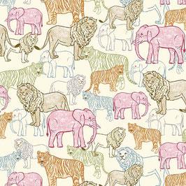 Michael Miller - Jungle Vibes - Wildlife Park - Elefanten, Löwen und Tiger auf cremefarbenem Hintergrund - Patchworkstoff