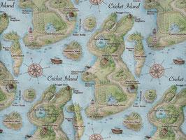 Timeless Treasures Bunny Island - Stoff Hasen Landkarte