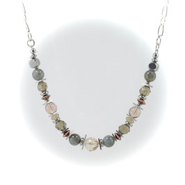 #2035-BOP, CHEX Collection Blue/Olive/Peach, Necklace/Collier