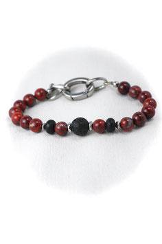 "#HH, Red Poppy Jasper, Onyx & Stainless Steel, Bracelet 8-9"""