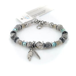#2026-GT, CHEX Collection Gray/Turquoise, Bracelet with feather charms