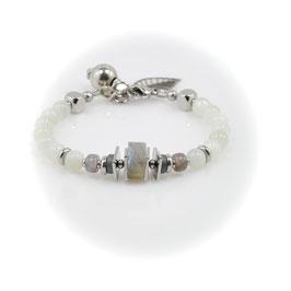 "#2043-  ""Inuk"" - Moonstone & Labradorite, Bracelet, 7-8"""