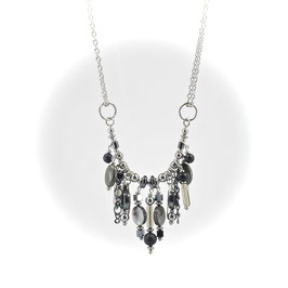 #1612-OXPY, Artsy Swoop-Onyx & Pyrite, Necklace/Collier